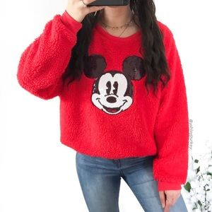 Red teddy fuzzy Mickey Mouse sweater